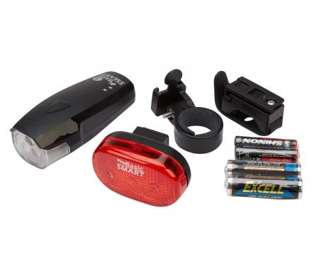 lygtesaet smart for og baglygte med batterier og lygteholder 111647 1 - Lygtesæt Smart for- og baglygte med batterier og lygteholder